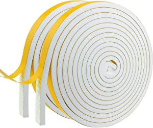 Weather Stripping Door Seal Strip,Foam Insulation Tape Self Adhesive for Doors and Windows.Soundproof Air Conditioning Seal Strip.Weather Stripping Tape. (W:1/2In X T:1/4In X L:13.33Ft X 2 Roll)