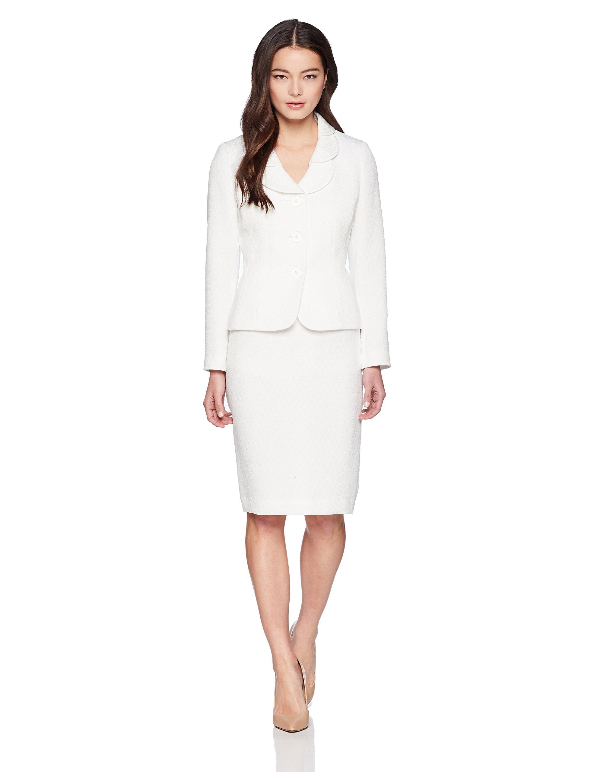 Le Suit Women's Petite Eyelet Jacquard 3 Bttn Petal Collar Suit, White, 12P by Le Suit (Image #1)