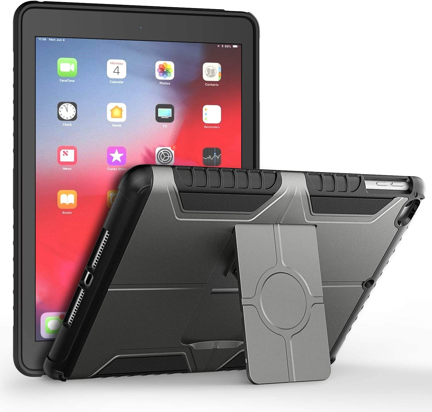 JETech Case for iPad 9.7-Inch 6th/5th Generation, 2018/2017 Model, Dual Layer Design Protective Cover, Grey