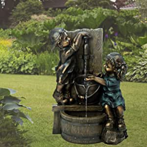 "Glitzhome Children Playing with Faucet Water Fountain Antique Bronze Boy and Girl Outdoor Waterfall Fountain with Soothing Sound Patio Backyard Decorative Feature, 25""H"