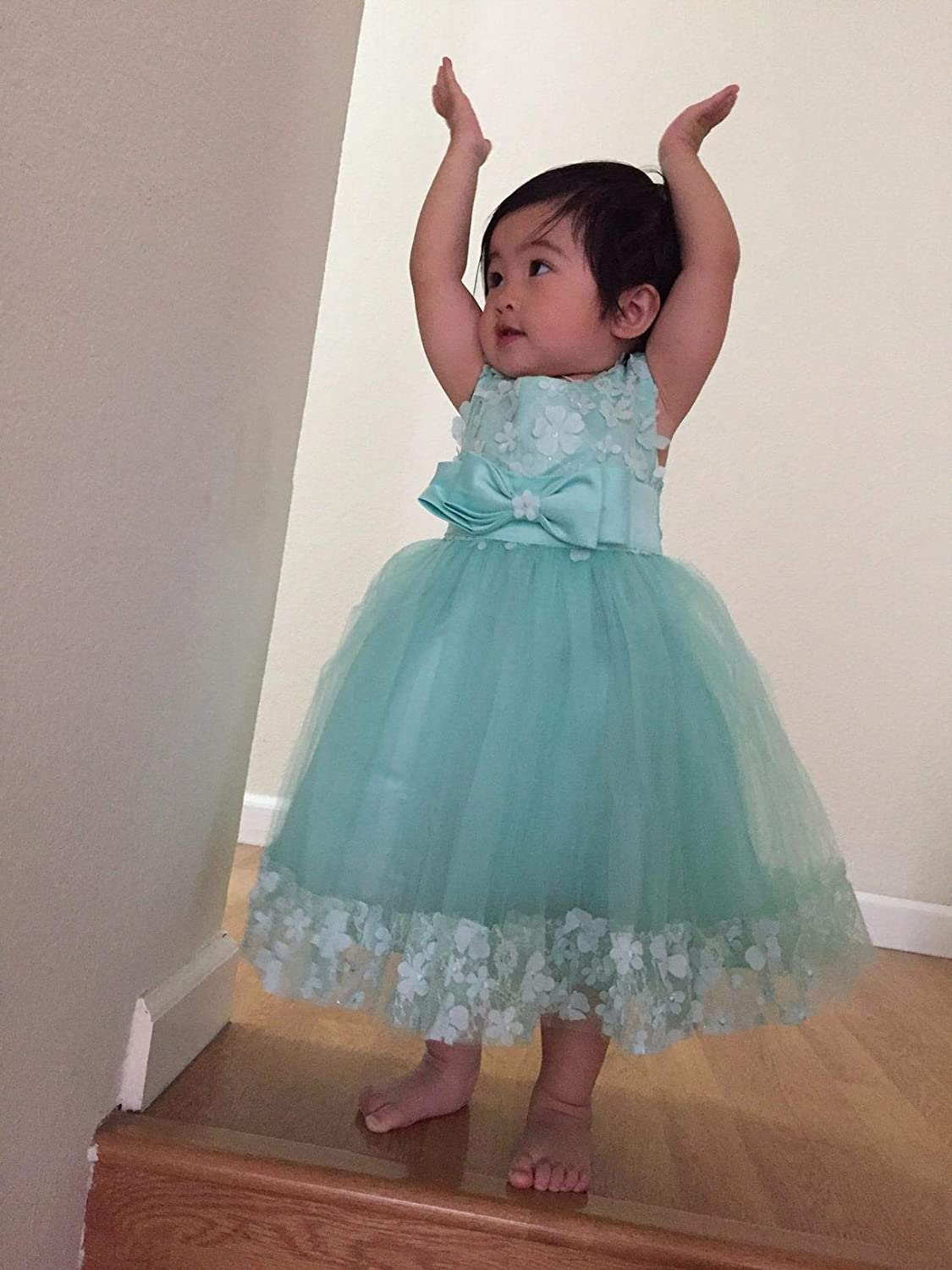 Weileenice 1-14 Years Big//Little Girl Flower Lace Wedding A-line Party Dresses