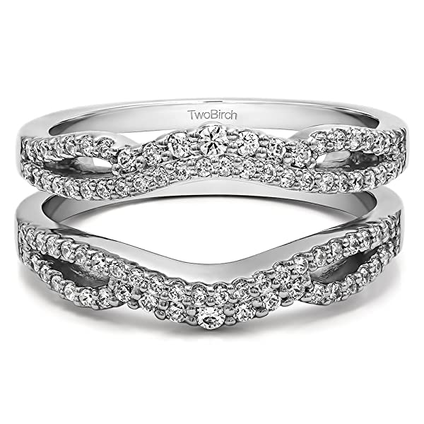 amazoncom sterling silver double infinity wedding ring guard enhancer with diamonds g hi2 i3 049 ct tw jewelry - Infinity Wedding Ring