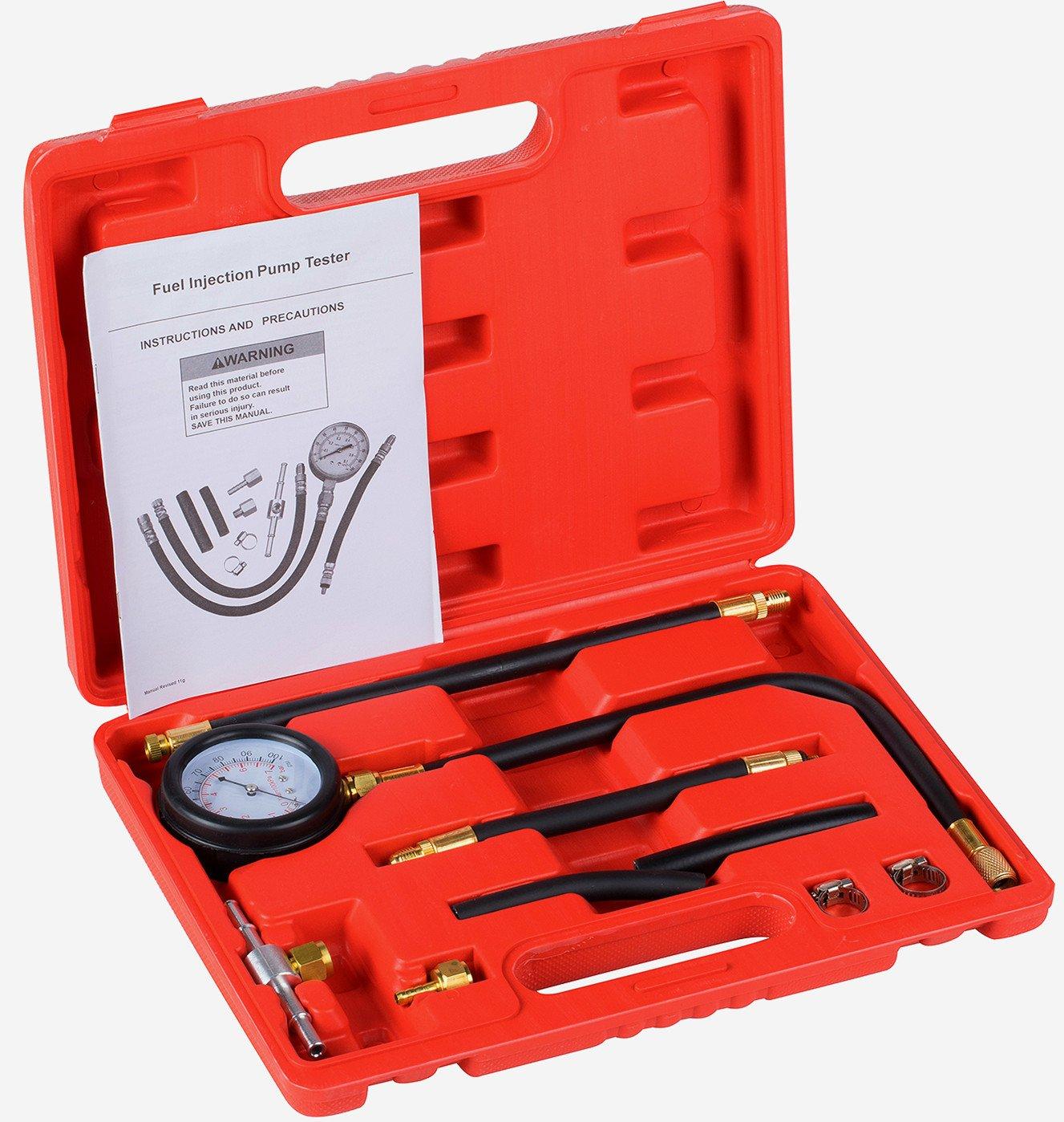 Detool Fuel Injection Pump Gas Gasoline Pressure Tester gauge Kit Car Tools for Cars & Truck