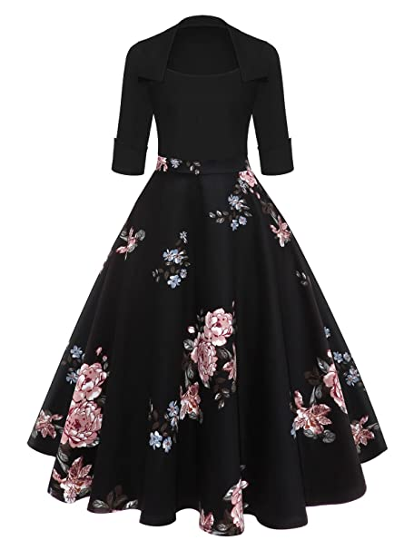 433c65819f0 Hannea Floral Midi Vintage Flare Dress  Amazon.in  Clothing   Accessories