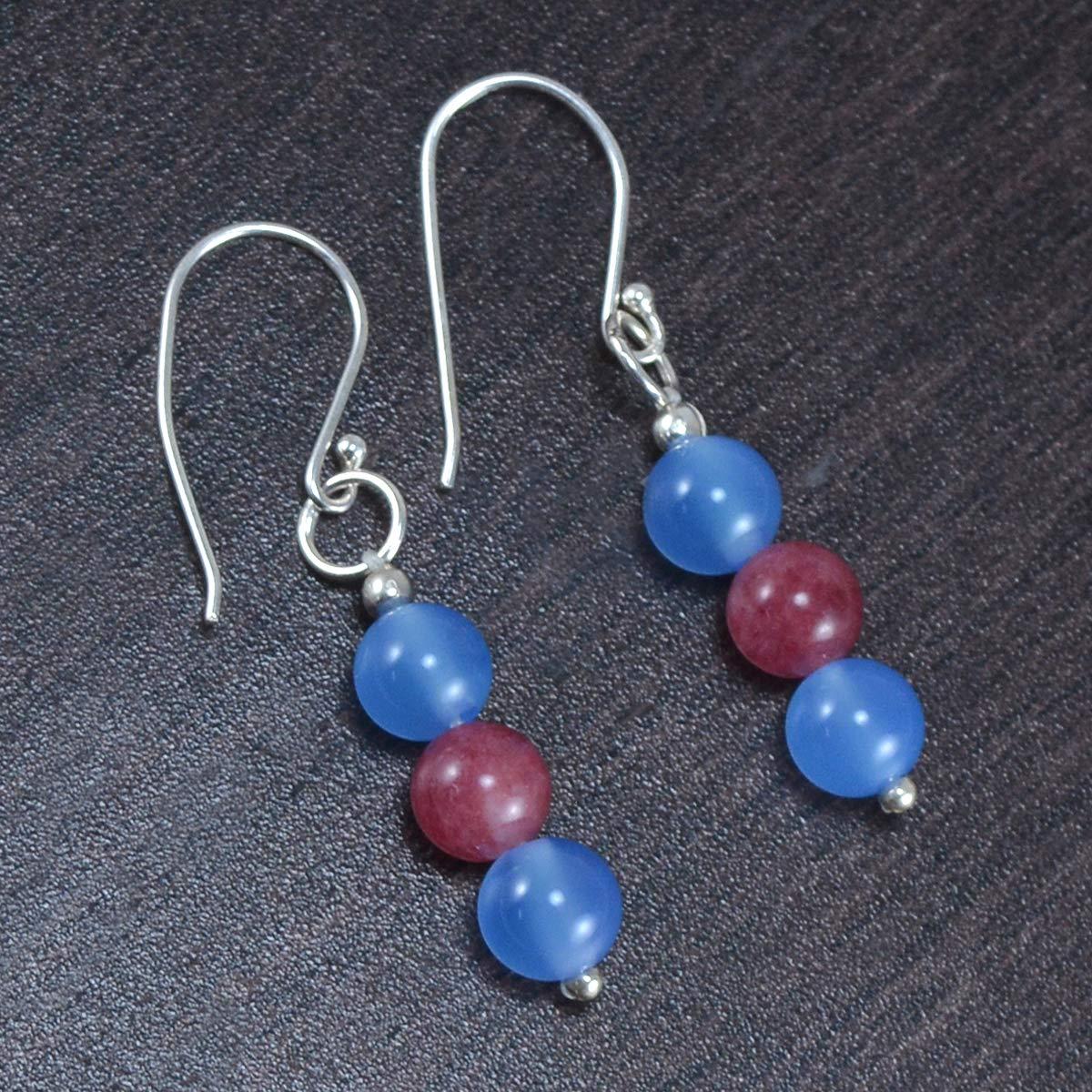 Saamarth Impex Blue /& Pink Quartz Gemstone 925 Sterling Silver Dangle Earring PG-105352