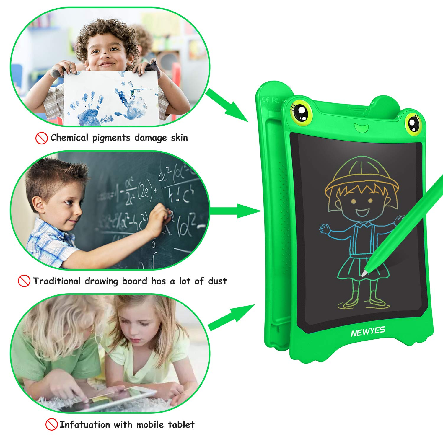 WOBEECO LCD Writing Tablet, 8.5 Inch Electronic Writing Board Doodle and Scribble Board for Kids (Green) by WOBEECO (Image #4)