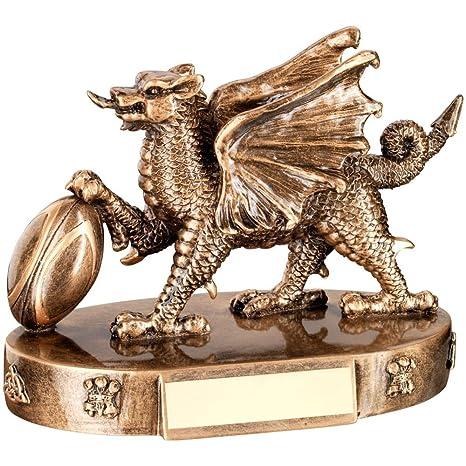 Personalizado grabado Perrott dragón de Gales balón de Rugby ...