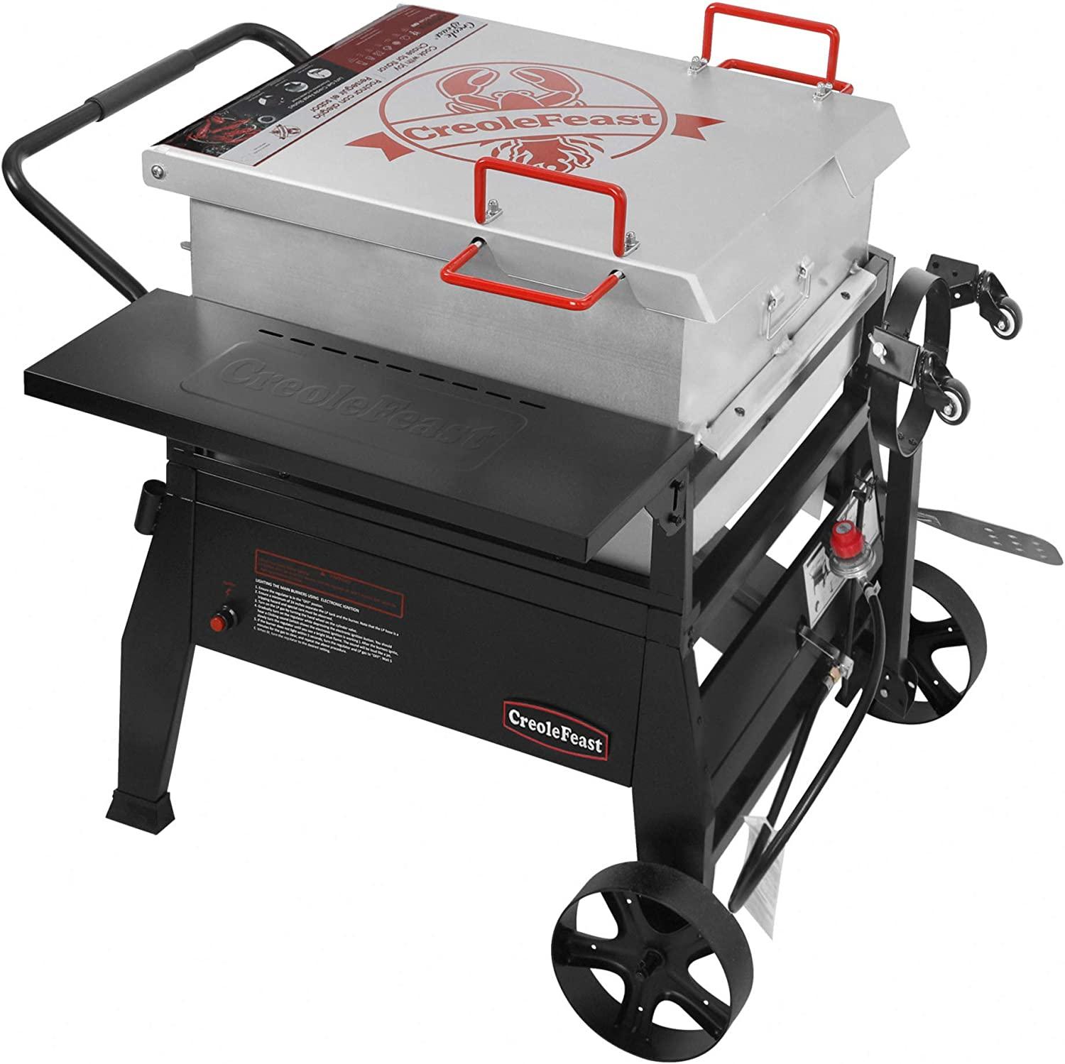 Creole Feast CFB1001A 90 qt. Crawfish Seafood Boiler, Single Sack Outdoor Stove Propane Gas Cooker with 10-psi Regulator and Folding Tank Mounting Bracket, for Crawfish Season
