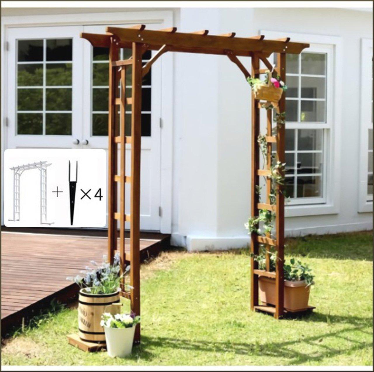 AHEART ガーデンアーチ 支柱 ガーデニング バラ プランター 木製 アーチ SI 371 ブラウン 金具セット B07CXYPVN6 金具セット|ブラウン ブラウン 金具セット