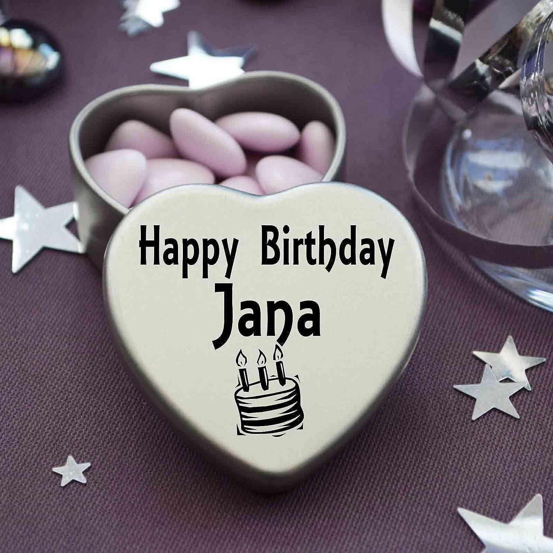 Happy Birthday Jana Mini Heart Tin Gift Present For Jana With