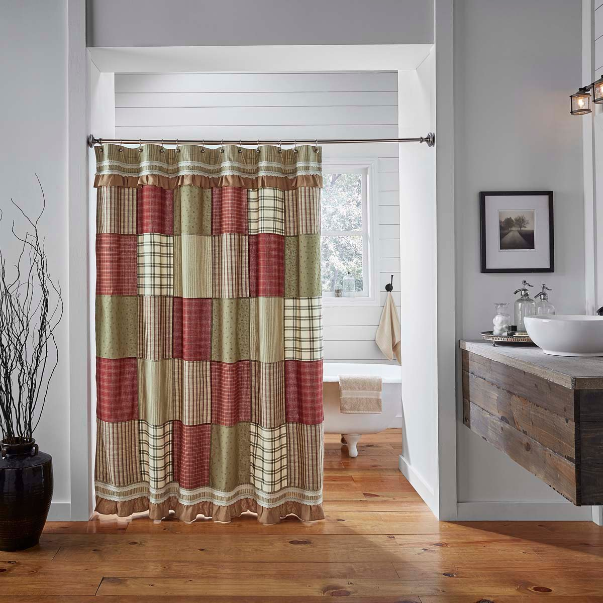 VHC Brands Classic Country Farmhouse Bath Red Shower Curtain, 72 x 72, Prairie Winds