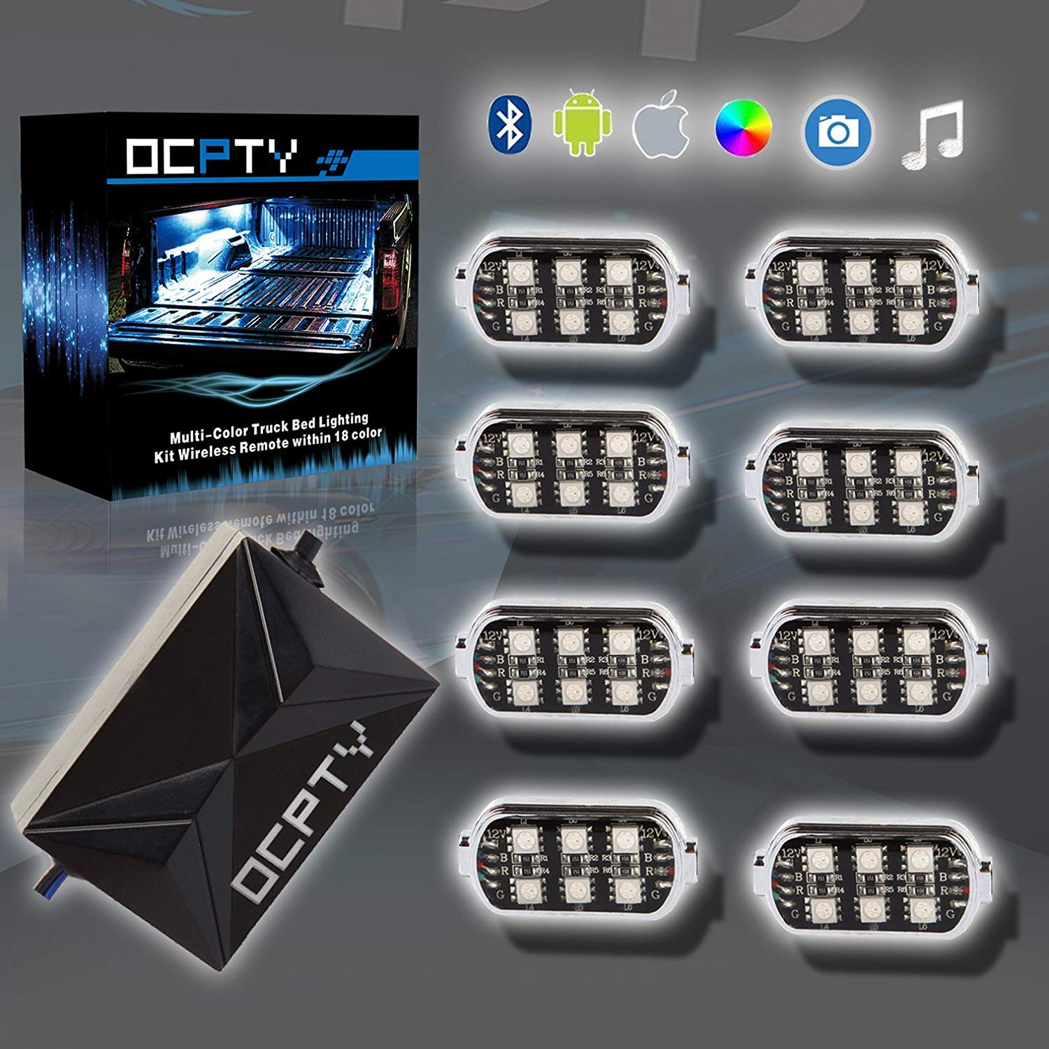 OCPTY 8 pods LED Truck Bed Light Kit Universal RGB Led Rock Light Sound  Activated Camera Function Wireless Remote Bluetooth Controller Waterproof  for