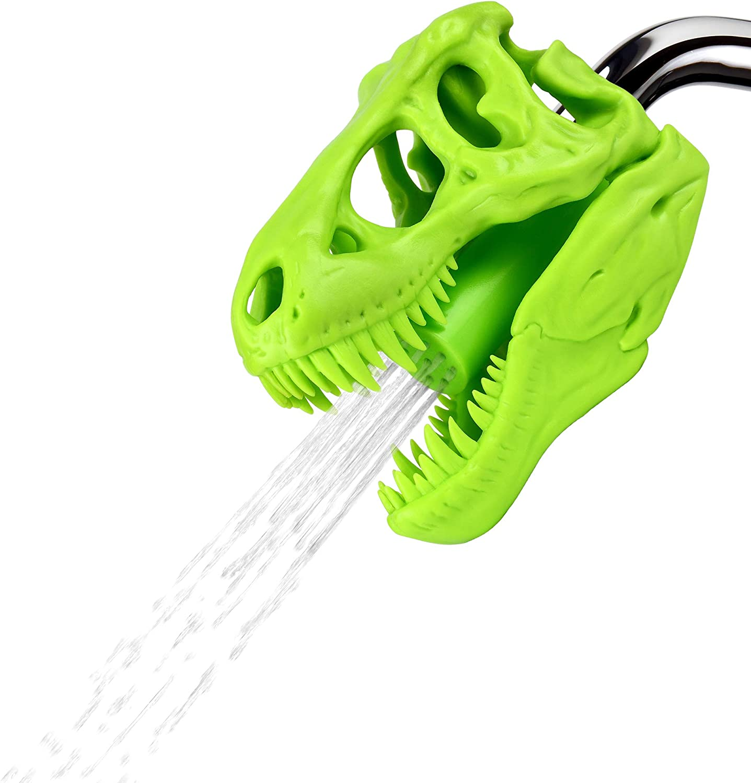 Funwares Wash n' Roar T-Rex Shower Head, Green - Shower Nozzle Shaped like a Tyrannosaurus Rex Skull