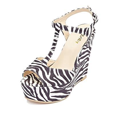 825bd00a1e9d ZriEy Women Gorgeous Sexy Peep Toe High Heels Platform Wedge Sandals Velvet  Zebra-stripesize 5
