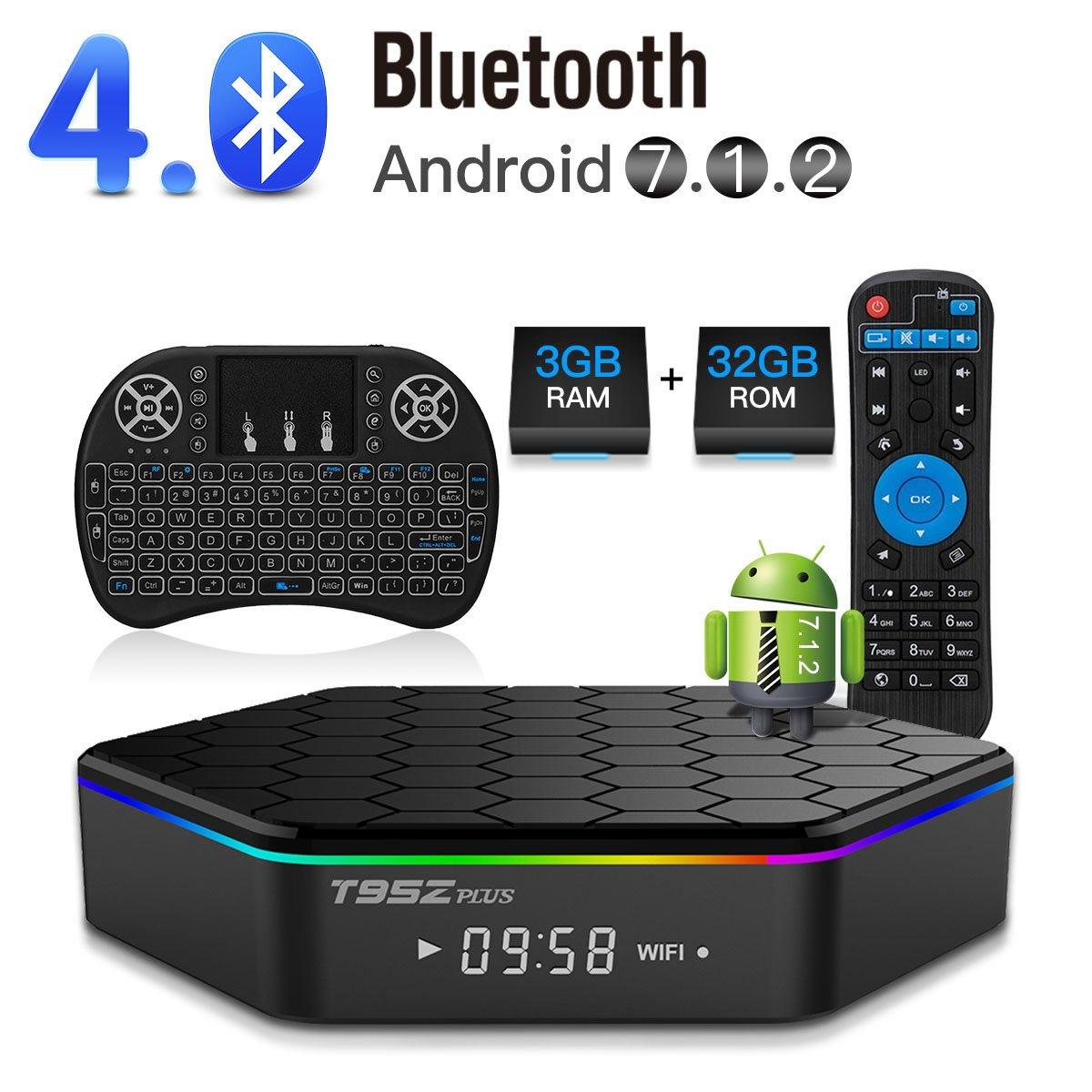 YAGALA T95Z Plus Android 7.1 TV Box Amlogic S912 Octa Core 3GB/32GB Dual Band WiFi 2.4GHz/5.0GHz 4K HD TV Box with Backlit Mini Wireless Keyboard by YAGALA (Image #1)