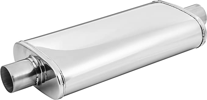 TOTALFLOW 44263 Straight Through Deep Tone Performance Muffler 18 Body Length 24 OAL Oval 5 x 8-2.5 Offset 2.5 OffsetReversible//Bi-Directional