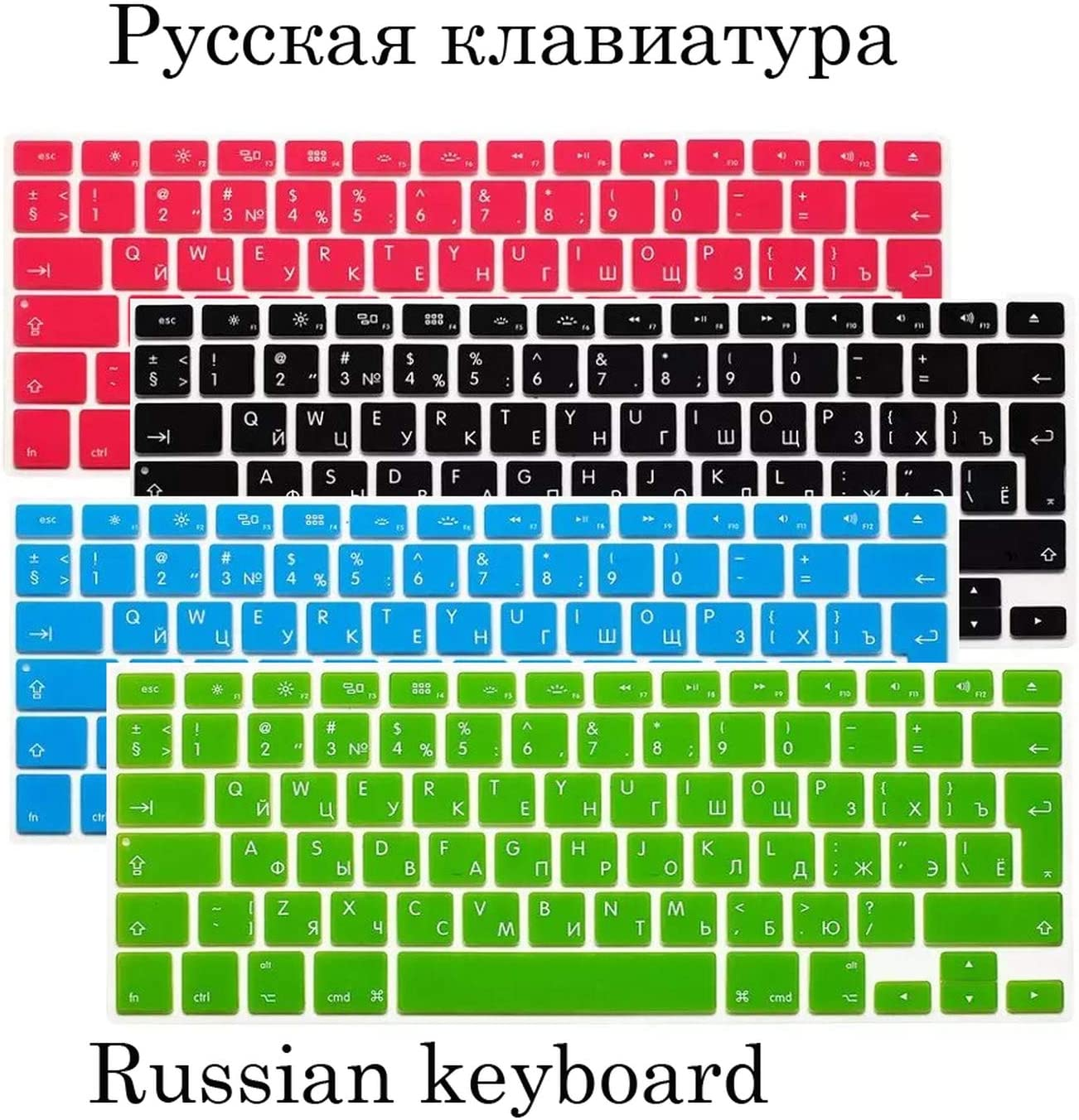 EU US Soft Silicon for MacBook Pro 13 15 Keyboard Cover Russian Cover for MacBook Pro 13 15 A1278 A1286 Russia Keyboard-US Russia Green