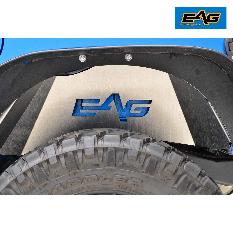 EAG 07-18 Jeep Wrangler JK Rear Inner Fender Liner Kit Silver Aluminum