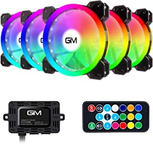 GIM RGB Case Fans 5 Pack 120mm Chassis Fans (366 Modes with Controller and Remote) PC Computer LED Fan Cooler