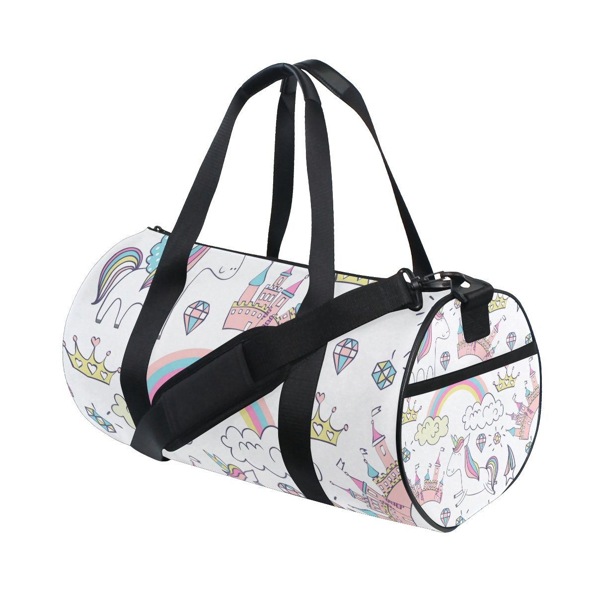 EVERUI Magic Cute Unicorn Travel Duffle Bag Sports Luggage with Backpack Tote Gym Bag for Man and Women
