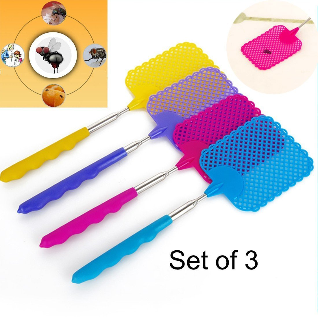3 pack Extendable Fly Swatters Telescopic Dependable Industries inc
