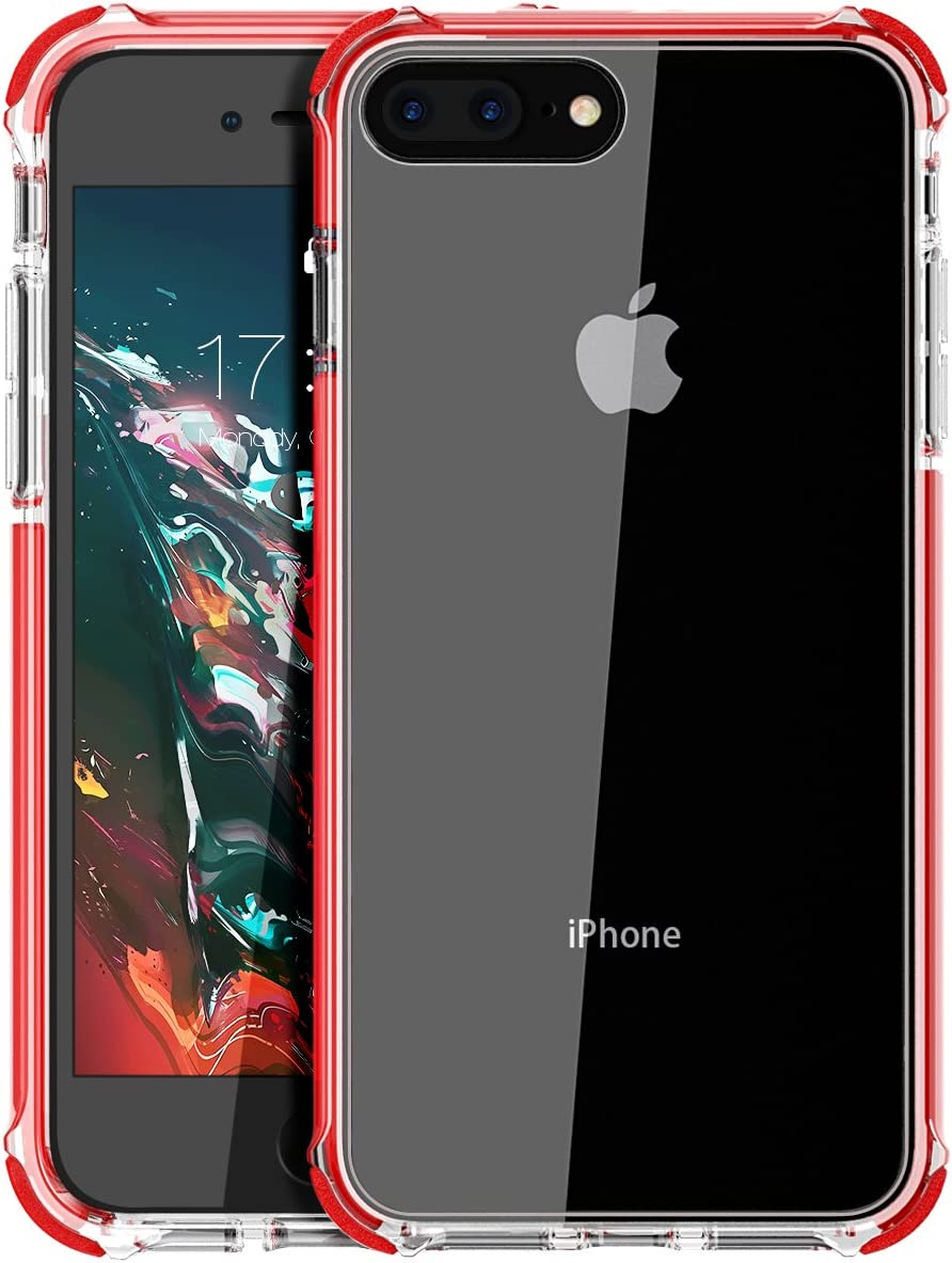 Amazon Com Iphone 8 Plus Case Iphone 7 Plus Case Mateprox Shield Series Heavy Duty Protective High Clear Pc Back Cover Soft Rubber Tpu Bumper Anti Scratch Shockproof Case For Iphone 7 Plus 8 Plus Red