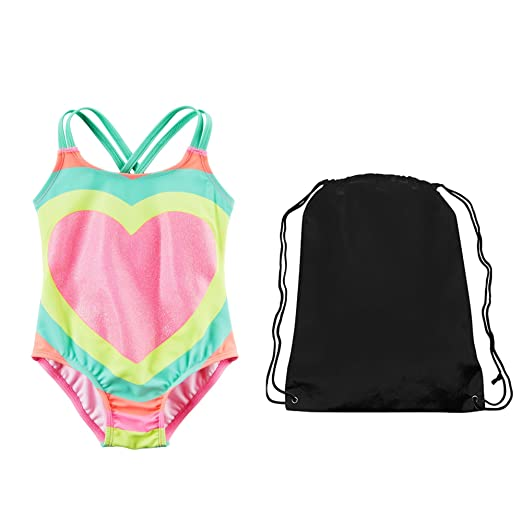 8de81ed46 Amazon.com: Carter's Girls Glitter Rainbow Heart One Piece Swimsuit and Swim  Bag 6: Clothing