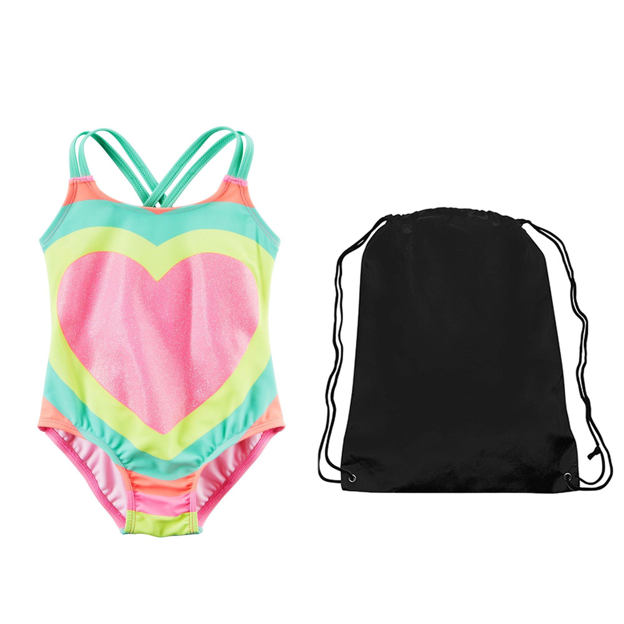 Carter's Girls Glitter Rainbow Heart One Piece Swimsuit and Swim Bag 5