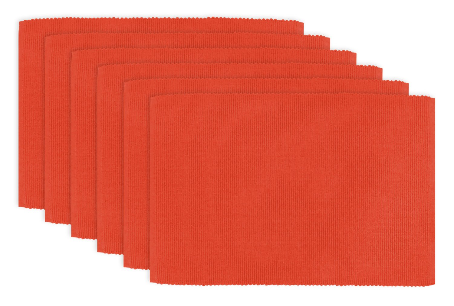 DII 100% Cotton, Ribbed 13x 19 Everyday Basic Placemat Set of 6, Ribbon Red