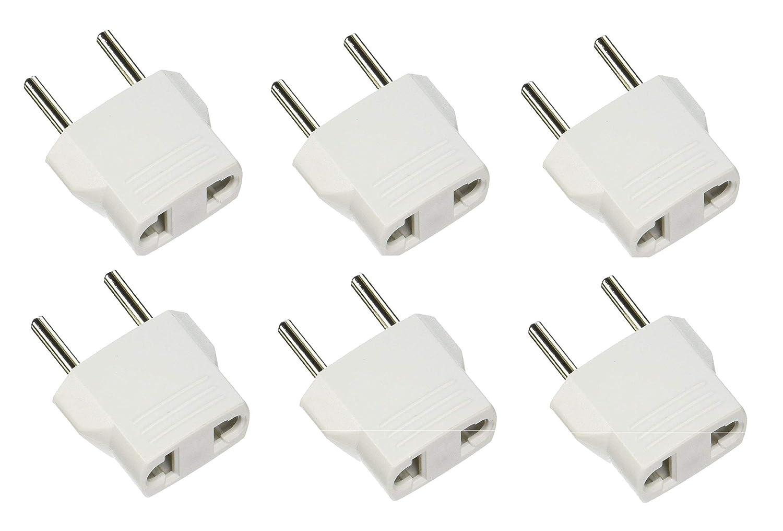 European - 1 Pack REGVOLT Power Plug Adapter USA to Europe Travel Adapter Round Prong Plug White