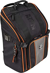 Klein Tools 55655 Tool Bag Backpack, Tradesman Pro Tool Station with 21 Pockets and Large Interior, Includes Flashlight with Work Light