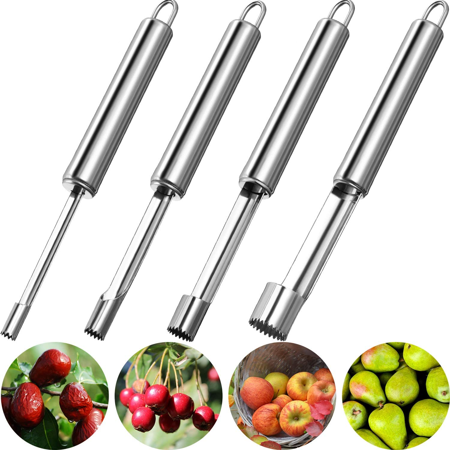 Mudder 4 Pieces Corer and Pitter Multi-Function Fruit Corer and Pitter Remover Set Stainless Steel Pear Corer Pitter 4 Sizes for Home Kitchen, Pear, Cherry, Jujube and Red Date