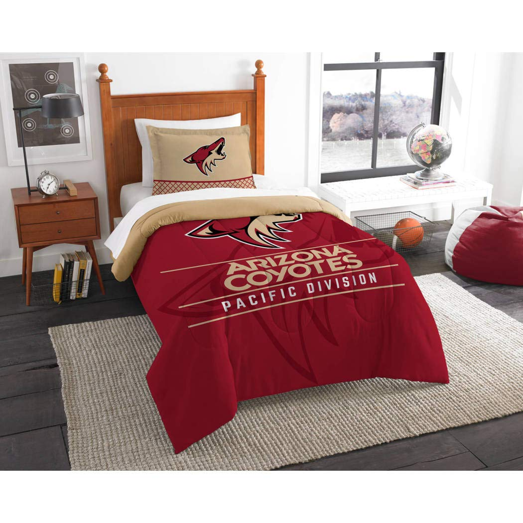 MI Hockey League Coyotes Bedding 2 Piece Comforter Twin Set, Sports Patterned Team Logo Fan Merchandise Athletic Team Spirit, Red Brown Black, Polyester Unisex