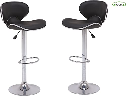 Vogue Furniture Direct Direct Adjustable Height Swivel Barstools With Footrest Set of 2 , Black