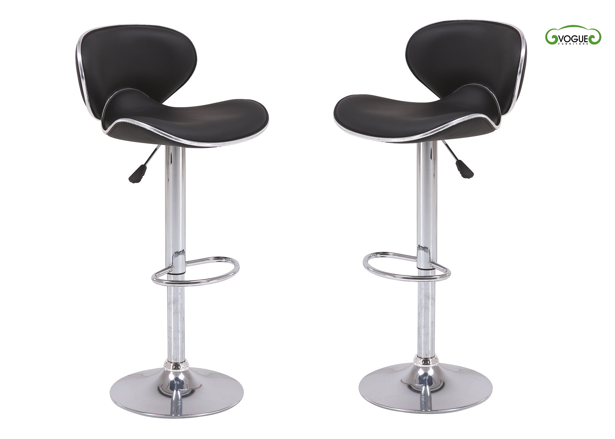 Vogue Furniture Direct VF1581046-2 Direct Adjustable Height Swivel Barstools with Footrest (Set of 2) Black