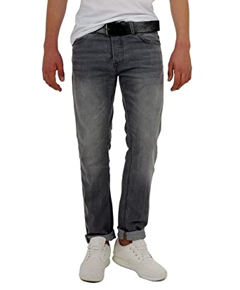 Mens Wayne Blue Wash Ch Fit Slim Jeans with Belt Crosshatch uQSHM5