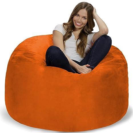 Wondrous Chill Sack Bean Bag Chair Giant 4 Memory Foam Furniture Bean Bag Big Sofa With Soft Micro Fiber Cover Orange Evergreenethics Interior Chair Design Evergreenethicsorg