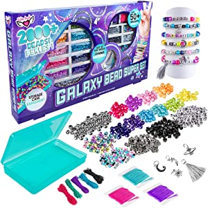 Fashion Angels Galaxy Bead Super Set (12679), 2,000+ Beads with Keeper Case, Makes 50+ Bracelets, Alphabet Charms, Pearlescent & Metallic Beads, Metal Charms, Includes Inspiration Guide