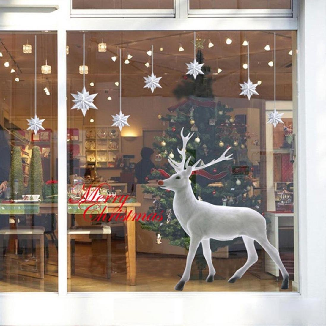 Christmas Wall Stickers, Lovely White Christmas Deer Removable Wall Window Sticker Art Home Decor Decal (C) MML