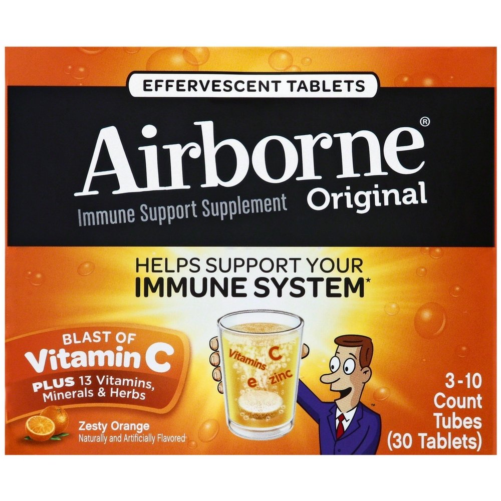 Airborne Zesty Orange Effervescent Tablets, 30 count - 1000mg of Vitamin C - Immune Support Supplement (Pack of 6)