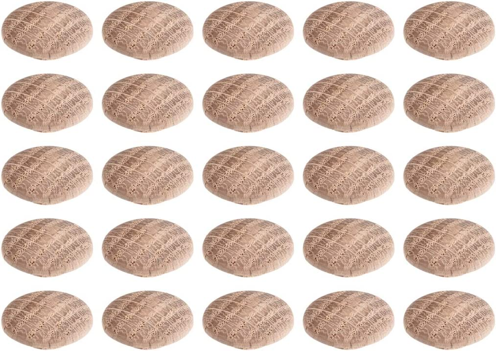 uxcell Wood Button Plugs 0.4 Inch Oak Hardwood Screw Hole Furniture Plugs 25 Pack