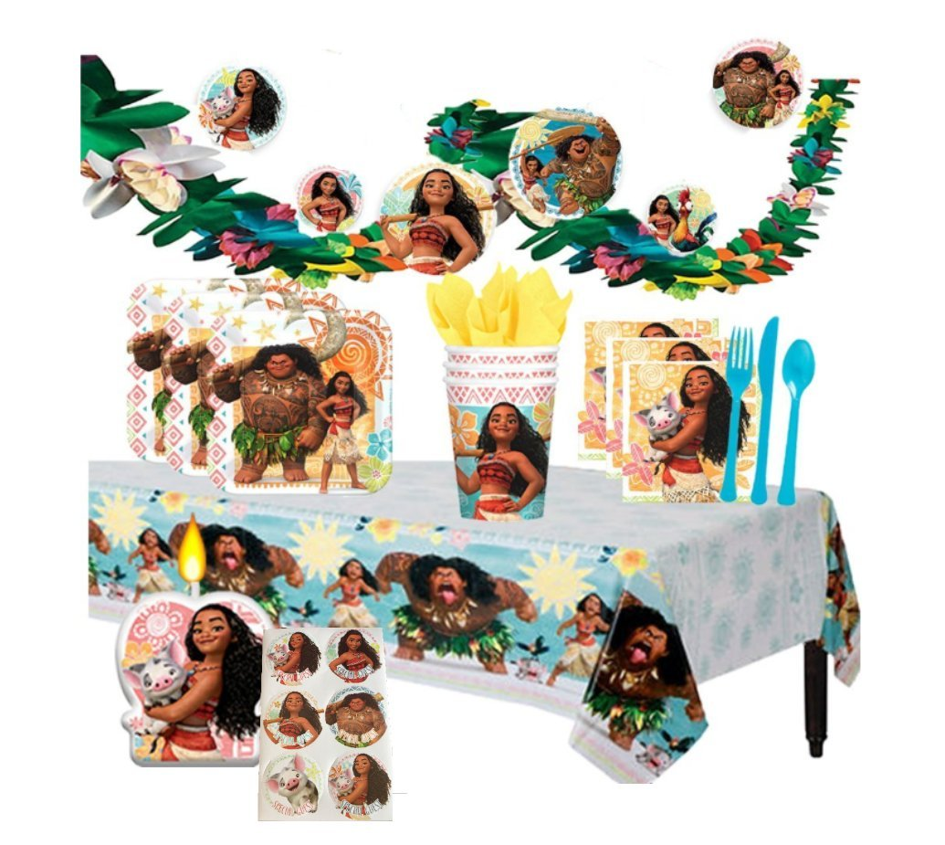 Disney Moana Deluxe MEGA Birthday Party Supplies Pack and Decorations for 16 includes Plates, Napkins, Cups, Cutlery, a Table Cover, a Candle, Moana Stickers, and a Flower Garland