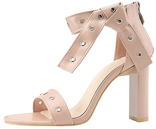 969f0b445 Freerun Women's Leather Strip Ankle Strap Chunky Zipper Heel Open Toe Dress  Sandal Nude-Color