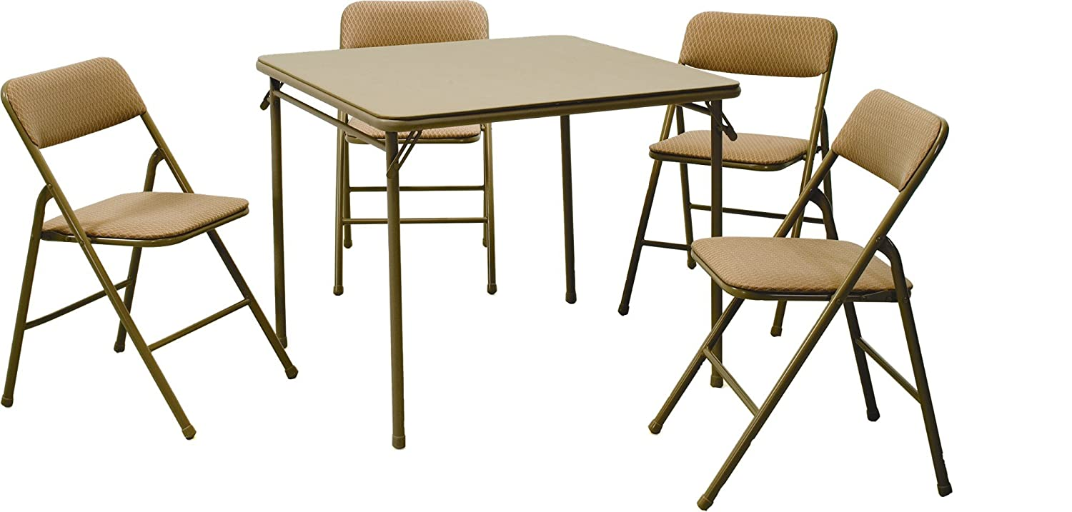 Amazon.com: Cosco 5-Piece Folding Table and Chair Set, Tan ...