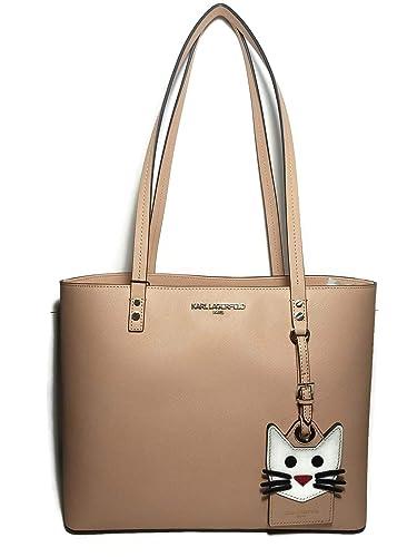 Amazoncom Karl Lagerfeld Paris Peach Gold Saffiano Cat Bag Tote