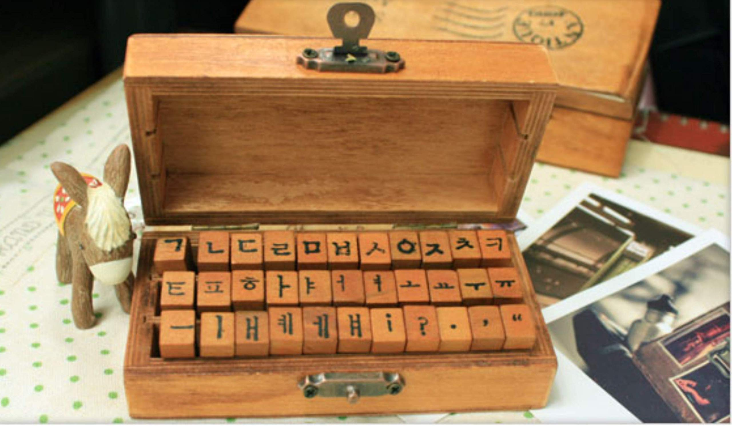 Korean Alphabet Rubber Stamp (33 Pcs) Bundle w/Black Ink Pad 한글 스탬프 Characters Wooden Box Vintage Antique Finish - Typewriter Font by Hanji Avenue