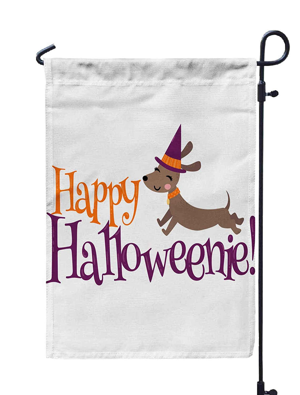 GROOTEY Welcome Garden Flag Home Yard Decorative 12X18 Inches Happy Dachshund Phrase Perfect Scrapbooking Kids Stationary Halloween Clothing Accessories Double Sided Seasonal Garden Flags,Red Gray