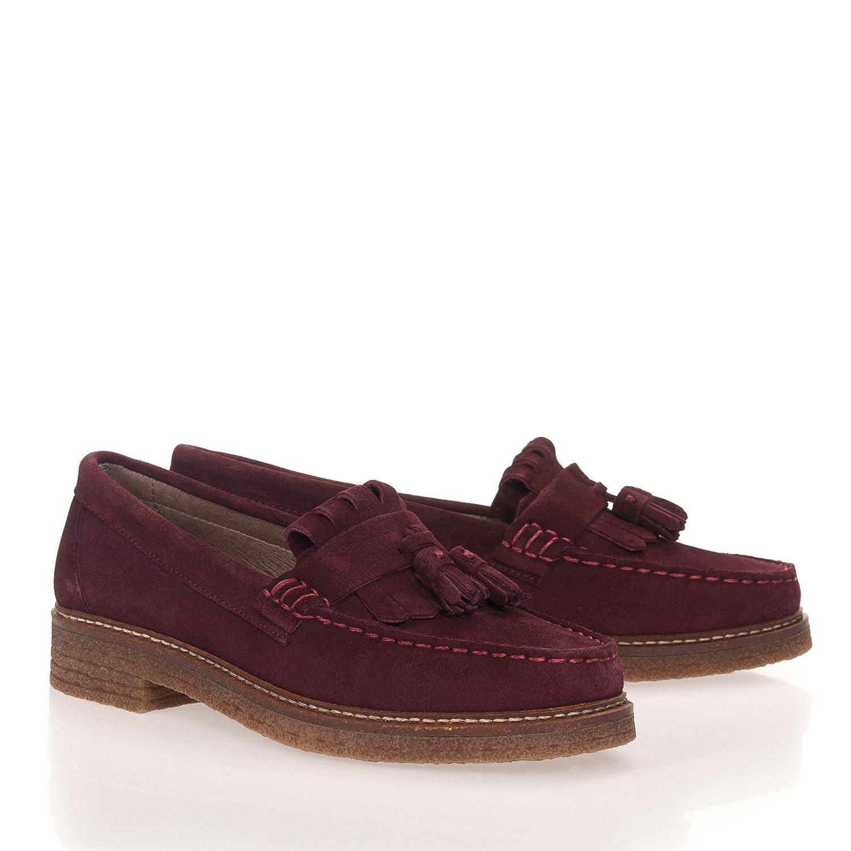 Castellanisimos C200004 Zapato Mocasín Borlas y Flecos de Mujer en Serraje en Burdeos: Amazon.es: Zapatos y complementos