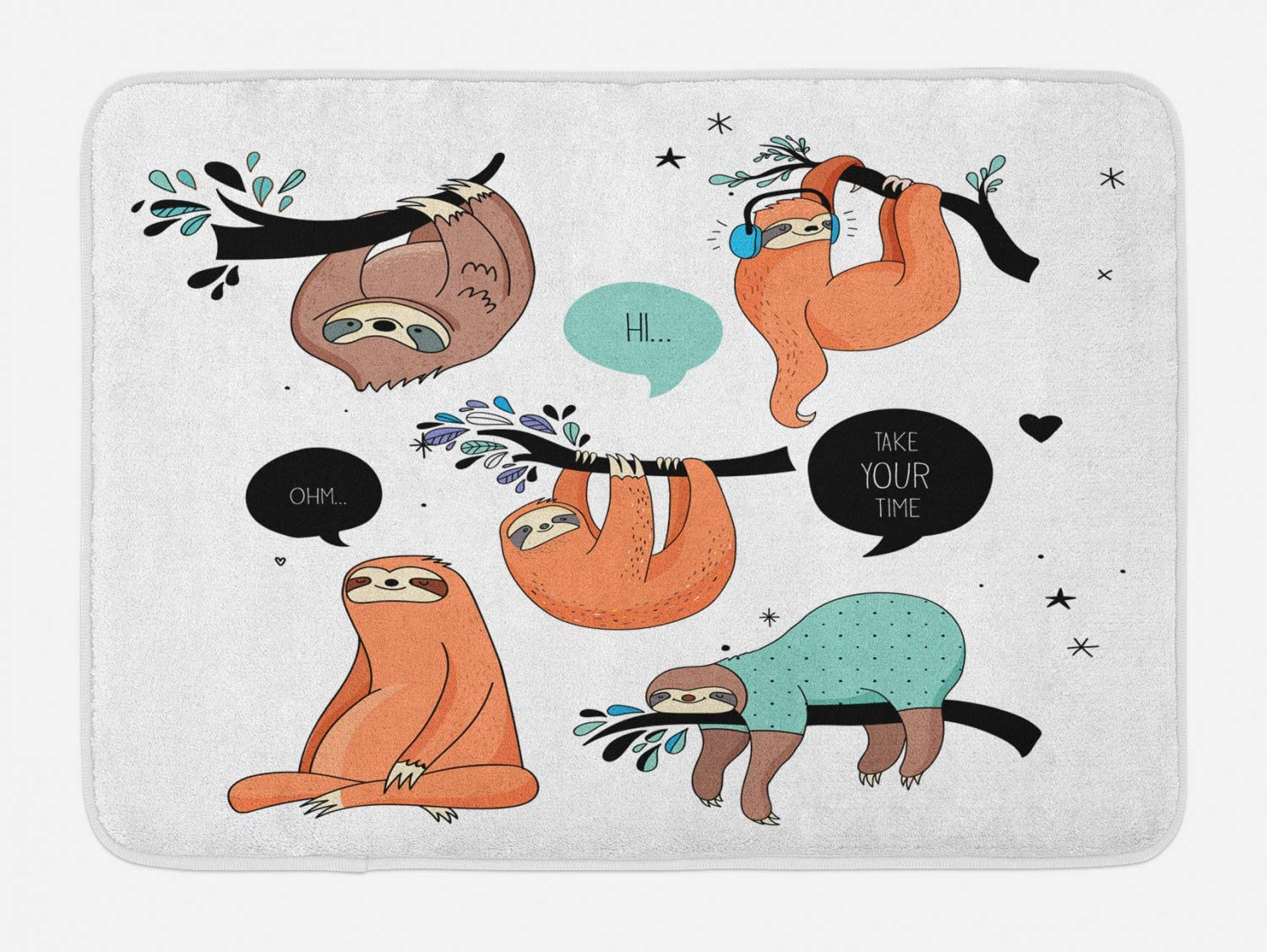 "Ambesonne Animal Bath Mat, Cartoon Style Illustration Tribe of Sloths Smiles Sleeping Lazy Does Yoga Words, Plush Bathroom Decor Mat with Non Slip Backing, 29.5"" X 17.5"", White Coral"