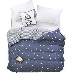Zhiyuan Triangle Pattern Reversible Dark Slate Gray Duvet Cover Comforter Case, Twin